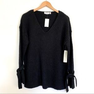 RD STYLE Black Ribbed V Neck  Bell Sleeve Sweater